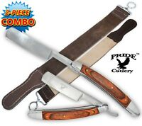 NEW Rose Wood Handle Folding Shaving Straight Razor & Leather Sharpening Strop