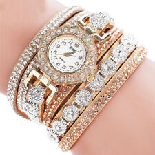 Womens Casual Watches Ladies Rhinestone Faux Leather Quartz Bracelet Wristwatch