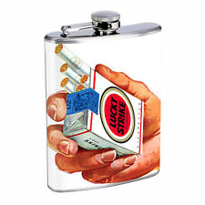 Lucky Strike Flask D2 8oz Stainless Steel Vintage Cigarette Ad Sign Classic Logo