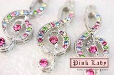 H287 Cute Rainbow Crystal Music Note Charm Wholesale (3pcs)