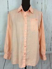 Chadwick's Peach Button-Front Linen Shirt Blouse Top Womens Size 10 Long Sleeve