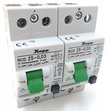 2x Kopp RCD 25-0,03 FI-Schutzschalter Fehlerstromschutzschalter 230V~ 25A 0,03A