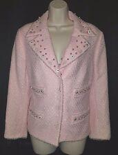 Escada Pink Boucle Blazer Pearls Chiffon Trim 44