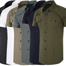 Stylish Mens army Short Sleeve Button-Down dress/Casual Shirts office Tops Shirt