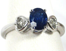 Blue Sapphire Ring 14K White Gold heart style CERTIFIED Natural 1.25ct $2,398