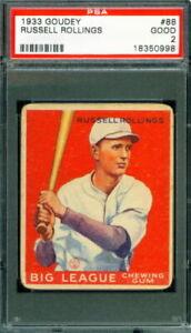 1933 Goudey Baseball #88 RUSSELL ROLLINGS Atlanta Crackers  PSA 2