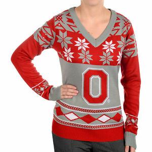 Women's Ohio State Buckeyes Big Logo V-Neck Ugly Christmas Sweater Pick Size