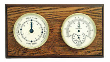 """WEATHER STATIONS - """"CAPE MAY"""" TIDE CLOCK & THERMOMETER / HYGROMETER ON OAK BASE"""