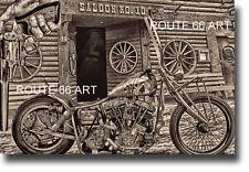 Harley Davidson Shovelhead #10 Saloon Deadwood Sturgis Wild Bill Biker Art Print