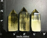 3x Natural Smokey Citrine Quartz Obelisk Yellow Crystal Wand Point Tower 112.2g