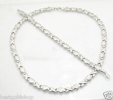 Anti-Tarnish Hearts & Kisses Bracelet Necklace Set Chain Real Sterling Silver
