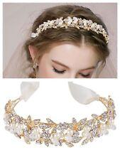 Gold Bridal Wedding Tiara, Crystal Ivory Pearls, Ribbon With Tiara Box