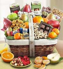 With Sympathy Fruit & Sweet Gift Basket-Thoughtfulness Caring Expression Present