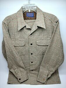 Vintage Pendleton Mens Flannel Shirt Size Medium Brown 100% Wool Board Shirt