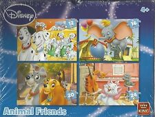 NEW! King Disney Animal Friends 4-in-1 jigsaw puzzle box set Age 4+ 05506