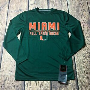 J America Youth Small Miami Hurricanes Long Sleeve Poly Tee T Shirt Green NEW