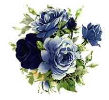 "4 Moonlight Blue Rose Flower 2"" Waterslide Ceramic Decals Xx"