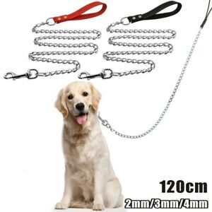 Heavy Duty Metal Chain Dog Lead with Leather Handle Long Strong Control Leash