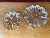 Lot Crystal Heavy Clear Glass Cigar Cigarette Ashtray Vintage Round mid century