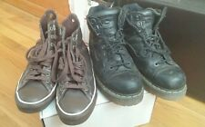Men's brown leather converse shoes and black Dr. Martens work boots