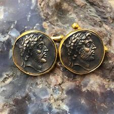 Handmade  Roman Art Bronze Coin Man Cufflink 24K Gold Over 925K Sterling Silver