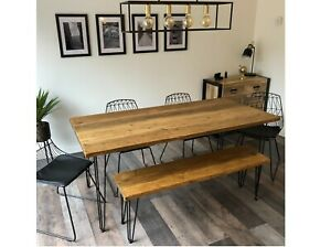 """Reclaimed Wood Dining Table and Bench. Industrial Hairpin Legs """"Pitsford""""."""