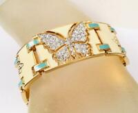 Vintage Enamel Rhinestone Art Deco Butterfly Bracelet by Designer Bob Mackie