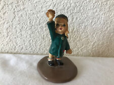 "Vintage Napco Girl Figurine ""JOY"" Green Coat #A3162 1958 w Foil Sticker RARE"