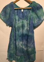 Dress Barn Womens Scoopneck Cap Sleeve Blouse Top Blue Green Size Small