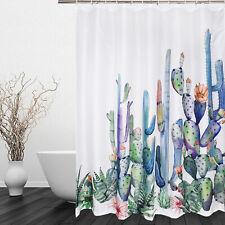 Art Cactus Fabric Shower Curtain Waterproof Polyester Fabric & Hooks Bathroom