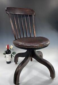 Antique 19thC Windsor Swivel Desk Chair On Casters Wm. White Boston, Mass