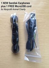 Genuine New Sandisk Clip JAM Earphones Includes Free MicroUSB cord! For CHARITY
