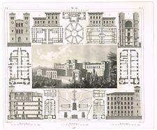 ORIGINAL VINTAGE ANTIQUE PRINT 1851 ARCHITECTURE ENGRAVING EUROPEAN PRISONS