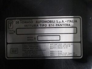 Id Nameplate de Tomaso Pantera 874 120x220mm s60
