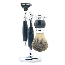 Vintage Stainless Steel Black Shaving Set Badger Hair Brush+ Razor +Stand