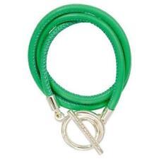 NIKKI LISSONI 30% SALE! Green Leather wrap bracelet silver clasp RRP $119
