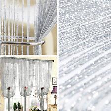 Argento Glitter Stringa Tenda Divisorio Porta Finestra Schermo Decorazione con Perline Look