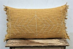 Beautiful Mustard color 12 X 20 Lumbar Cushion Cover with Fringes Modern Pillow