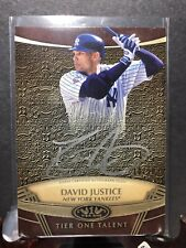 2019 Topps Tier One Talent Autograph SILVER Ink DAVID JUSTICE Auto #/10 Yankees