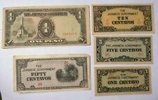 THE JAPANESE GOVERNMENT WW2 peso&centavos SET
