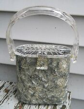 Vintage Gray Marble Lucite Gold Threads Clear Carved Lid Handbag Purse Gilli NY