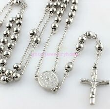 Fashion Cool Silver Mens Stainless Steel 4mm Round Beads Rosary Chain Necklace