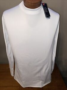NWT Men's ColdGear® Armour Fitted Mock Shirt  Style  1320805  WHITE  XL  $50.00