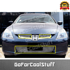 Fit Honda 2003 2004 2005 Accord Sedan LX Upper Bolt-On+Bumper Billet Grille Set