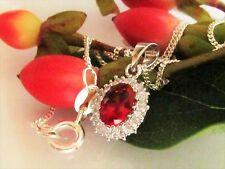 Collier 925 Sterling Silber Anhänger mit Kette Rot Rubin Zirkonia Halskette 45cm