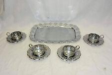 VTG Russian PODSTAKANNIK Set of 4 VTG Soviet Russian tea glass holder + Tray