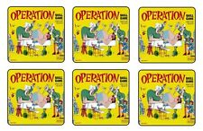 """OPERATION BOARD GAME COASTERS 1/4"""" BAR & BEER SET OF 6"""