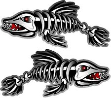 """2 - 3"""" x 7"""" Fish Skeleton Decals Sticker Fishing Boat Graphics Ice Tackle 1500"""