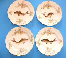"Antique China -Fish design-9"" Plates-  stamped ""Austria Clover""  Set of 4"