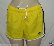 NWT ABERCROMBIE & FITCH WOMENS YELLOW MULTI  ATHLETIC RUNNING SHORTS SIZE LARGE